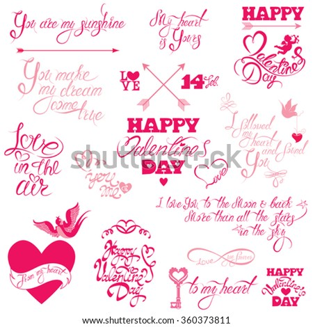 Set of hand written text: Happy Valentine`s Day, I love you, Love in the air, etc. Calligraphy elements for holidays or wedding design in vintage style, hearts, birds, angels.  - stock vector