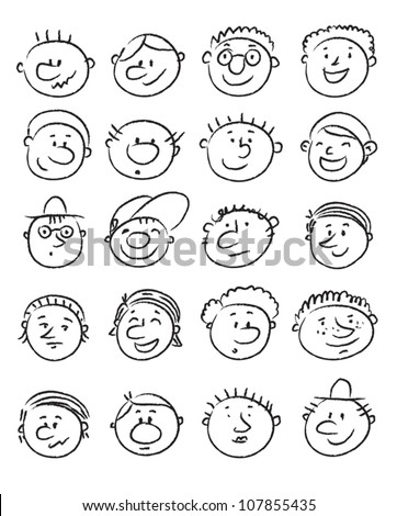 Set of handdrawn cartoon man faces with expressions