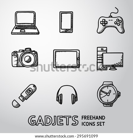 Set of handdrawn GADGET icons with - notebook, phone, gamepad, photo camera, tablet, pc, flash card, headphones, watches. Vector - stock vector
