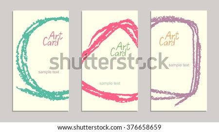 Set of handmade business sample cards with hand drawing textures. Hand drawing copy space background with retro color. Crayon pastel chalk art lines and design elements, vector. - stock vector