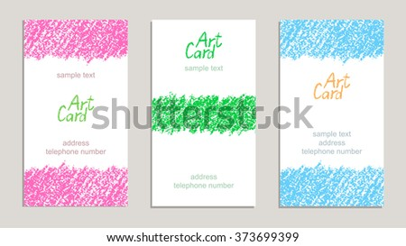 Set of handmade business sample cards with hand drawing textures. Hand drawing copy space on white paper background. Crayon pastel chalk art lines and design elements, vector. - stock vector