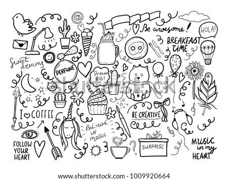 Set Handmade Doodles Motivaton Lettering Vector Stock