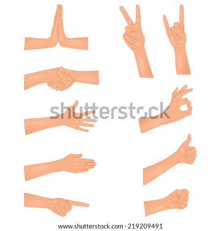 Set of hands - stock vector