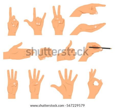 Set of hands, different gestures emotions and signs - stock vector