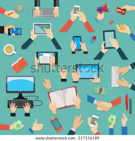 Set of hands, flat design - stock vector