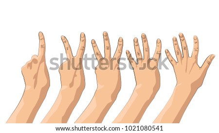 set of hands gestures count one, two, three, four, five