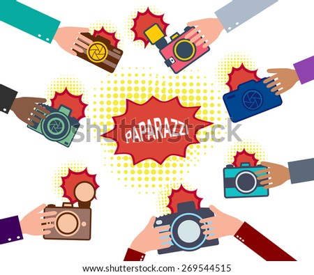Set of hands holding cameras. Paparazzi. News and journalism concept. Vector illusatration - stock vector