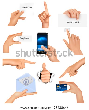 Set of hands holding different business objects. Vector illustration - stock vector
