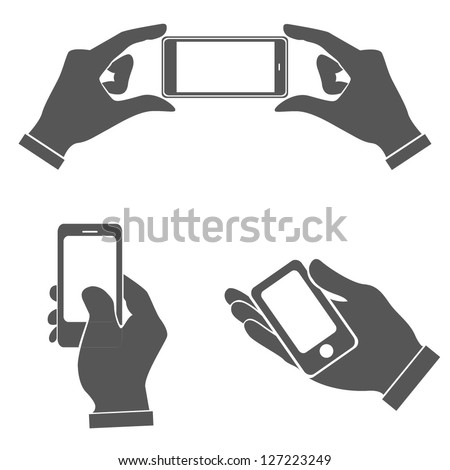 set of hands holding smart phone, pointing on smart phone tablet, electronic device - stock vector