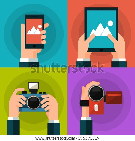Set of hands holding smart phone, tablet, video and photo camera. Flat style - stock vector