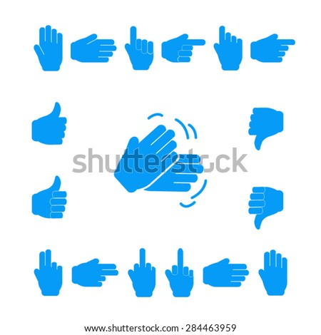 Set of hands showing various expressions. Professional icons for print or Web.  EPS10 vector.