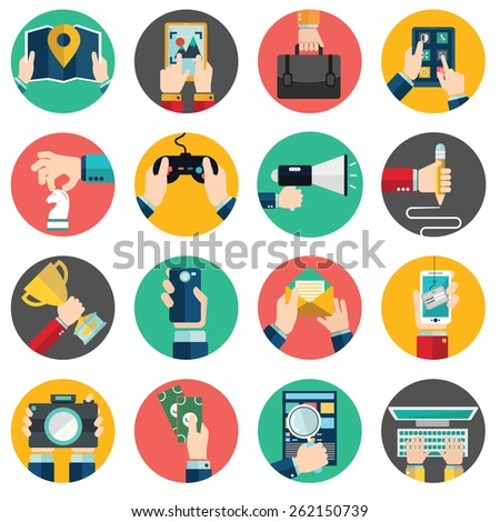 Set of hands using business internet service and ecommerce . Smartphone and tablets. - stock vector
