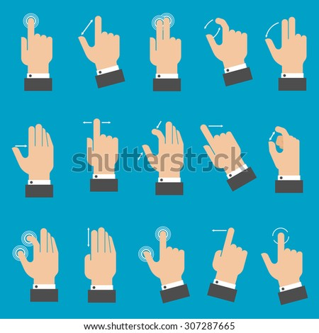 Set of hands with multitouch gestures for tablet or smartphone on blue background. Flat style  - stock vector