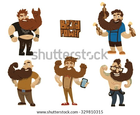 Set of handsome men with great strong beard, 5 characters, hippie, biker,hipster and others,  vector,  - stock vector