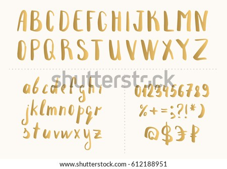 Set handwritten gold latin letters vector stock vector royalty free set of handwritten gold latin letters vector script font golden alphabet isolated on background thecheapjerseys Images