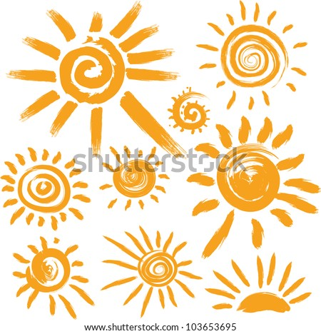 Set of handwritten sun symbols - stock vector