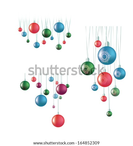 set of hanging ball decoration isolated on white - stock vector