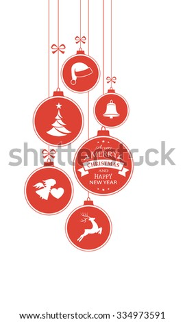 Set of hanging Christmas balls with ornaments such as Christmas tree, Santa hat, reindeer, angel and bell with a ribbons forming a versatile vertical border isolated on white. - stock vector