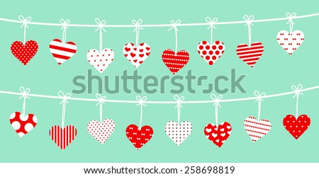 Set of hanging hearts. Collection of hearts hung together on the rope. Vector art image illustration, isolated on green background, every heart is different design, polka dot, line.. red and white - stock vector