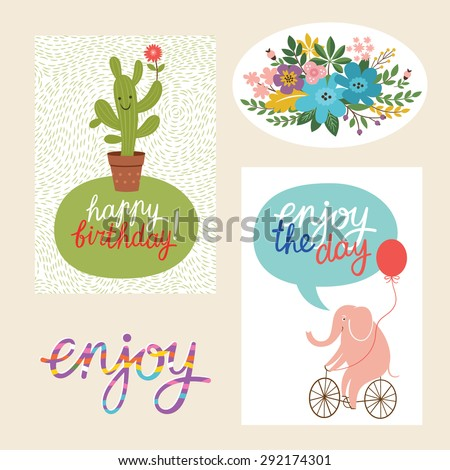 set of happy birthday design  cards and graphic elements - stock vector