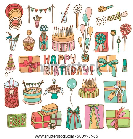 Set of happy birthday party elements in doodle sketch style.