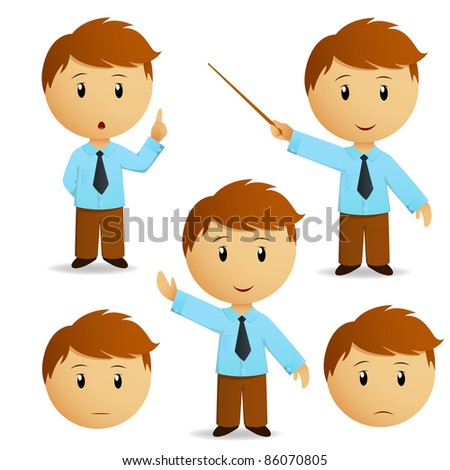 Set of happy cartoon businessman for presentation in blue shirt with tie. Vector illustration. - stock vector