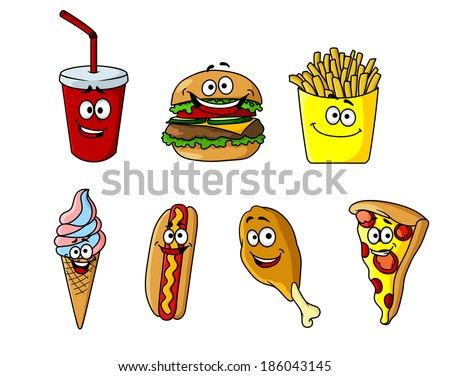 Set of happy cartoon takeaway food icons logo with a soda, cheeseburger, french fries, ice cream, hotdog, chicken wing and pizza for fastfood design - stock vector