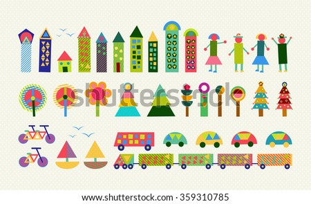 Set of happy colorful geometry city elements. Includes house, people, nature, environment and transport shapes. EPS10 vector. - stock vector