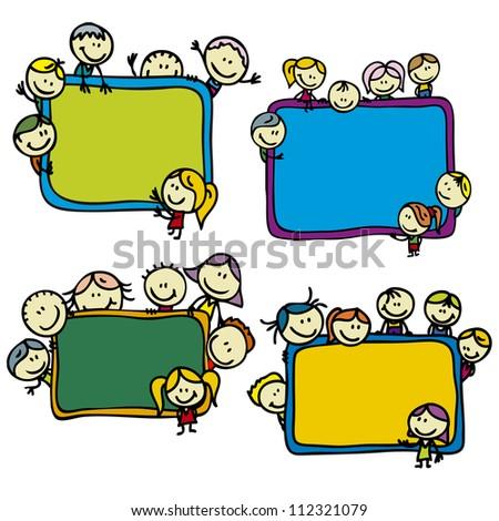 Set of happy doodle children around school blackboards - stock vector