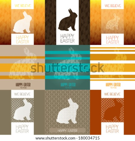Set of Happy Easter card