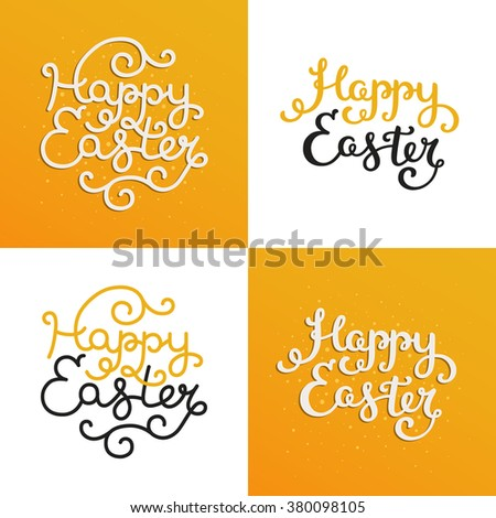 Set of Happy easter card with holiday lettering. Vector easter background, typography greeting cards - stock vector