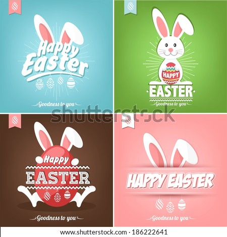 Set Of Happy Easter Cards Illustration With Easter Eggs And Rabbit - stock vector