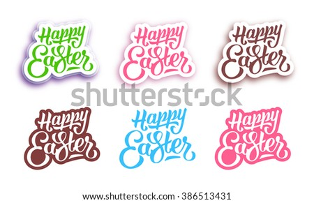 Set of Happy Easter hand lettering text on paper labels for greeting cards. Stickers isolated on white vector background - stock vector