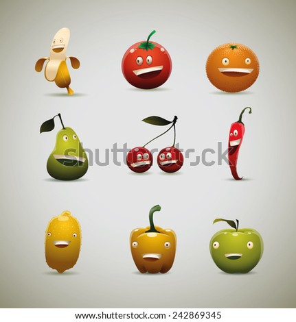 set of Happy fruits and vegetables, vector - stock vector