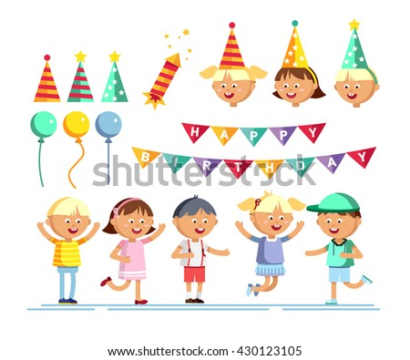 Set of happy girls and boys, balloons, birthday party hats, slapstick. Children patry. Birthday party. Young male and female cartoon character in white background. Happy childhood. Party kids. - stock vector