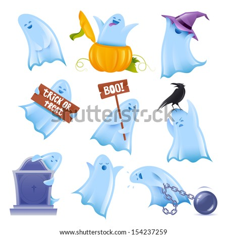 Set of 9 happy halloween ghosts in various situations - stock vector