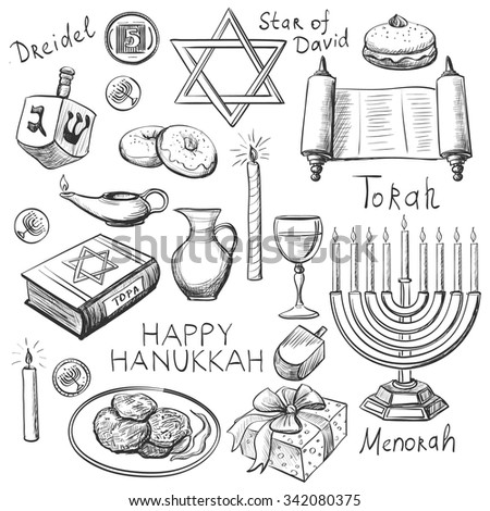 Set of Happy Hanukkah designed elements with candlestick, star of David, torah, menorah, dreidel and gifts - stock vector