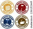 Set of happy hour grunge rubber stamps,vector illustration - stock vector