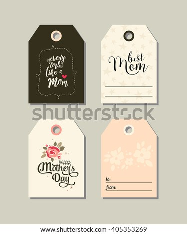 Set of Happy Mother's day gift tags. Collection of vector templates for  scrapbooking, journaling, congratulations and gifts. Illustrations of  flowers, stars and a heart. Pastel colors. - stock vector