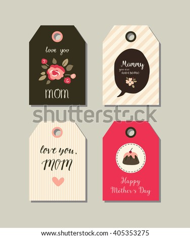 Set of Happy Mother's day gift tags. Collection of vector templates for  scrapbooking, journaling, congratulations and gifts. Illustrations of  flowers, hearts and cake. Pastel colors.