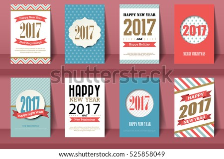 Set of Happy New Year and Merry Christmas brochures in vintage style .Vector eps10