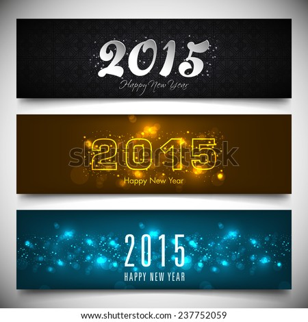 Set of Happy New Year 2015 banners. - stock vector