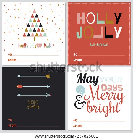 Set of happy new 2015 year greeting card with Christmas and winter calligraphic and typographic wishes. Inspirational and motivational romantic quotes posters in cute style. Bright winter illustration - stock vector