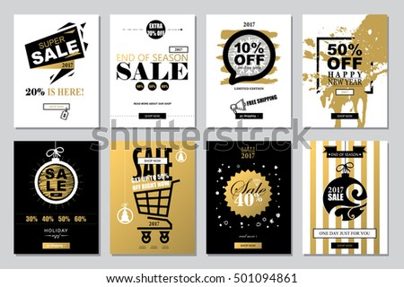Set of 2017 Happy New Year Templates Sale Banners for Websites and Mobile Websites with black, white, gold colors.  Trendy flat style with hand-lettering words. Clearance, on-line shopping. Vector