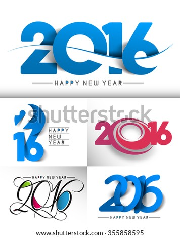 Set of Happy New Year 2016 Text Decorated Design