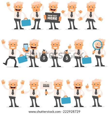 Set of Happy office man. Vector illustration  - stock vector