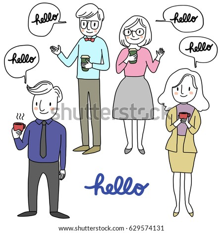 Set happy people holding coffee cup stock photo photo vector set of happy people holding a coffee cup and greeting someone hello vector illustration m4hsunfo