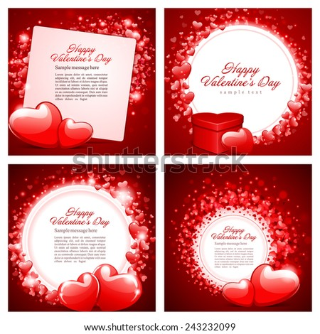 Set of Happy Valentines Day Backgrounds with Hearts Design Template for: Greeting card, banners, invitations or posters, vector illustration  - stock vector