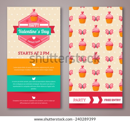 Set Of Happy Valentines Day Greeting Card or Flyer. Vector illustration. Typographical Frame Template for Text. Ornamental Background With Butterfly, Hearts and Cupcake.