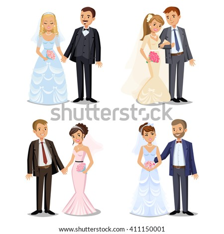 Set of Happy wedding couples. Different types Wedding couples collection. Bride and groom on their wedding day. Vector illustration isolated on white background.  - stock vector